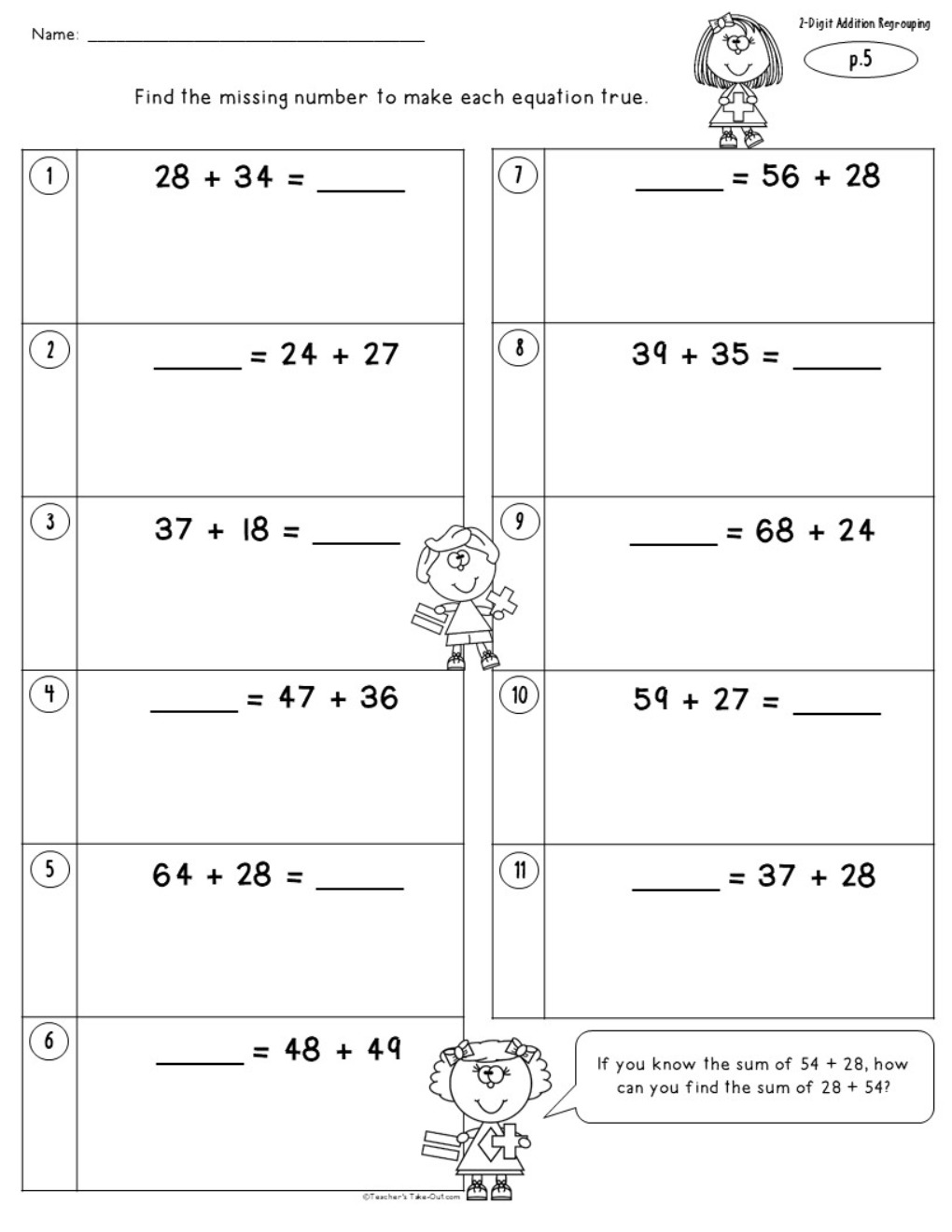 2 Digit Addition Worksheets with Regrouping