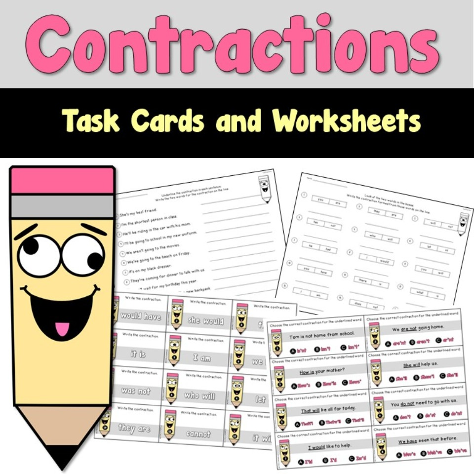 Contraction Task Cards and Worksheets
