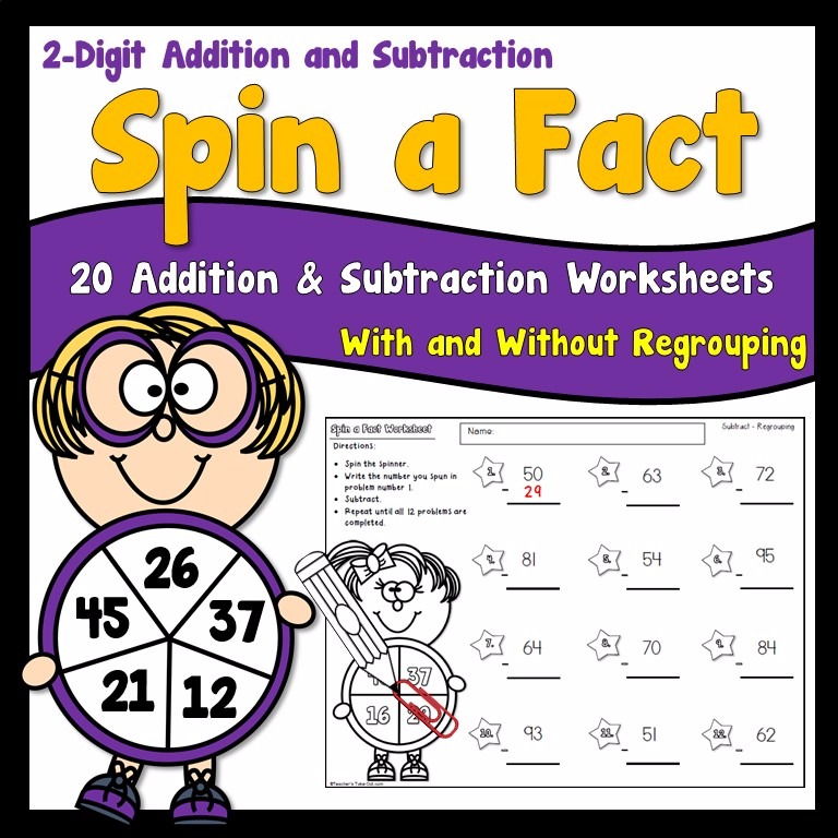Spin a Fact 2 Digit Addition and Subtraction Worksheets