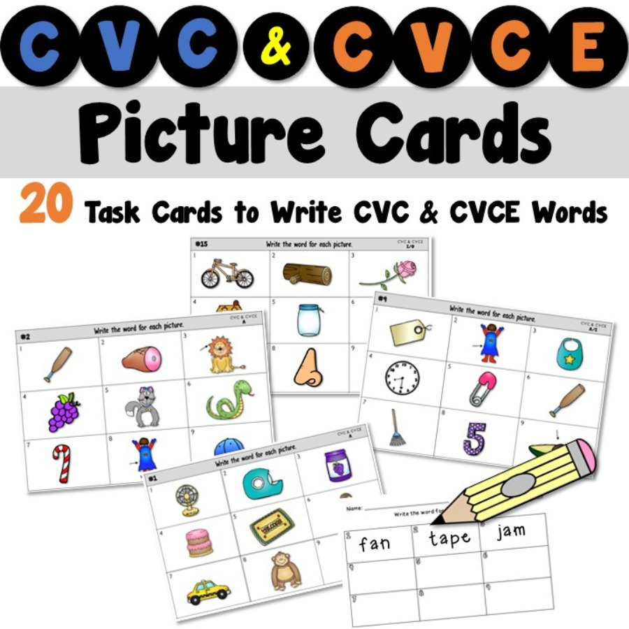 CVC and CVCE Picture Cards for a Writing Center