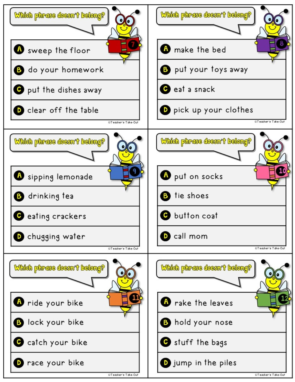 Comprehension Phrases Task Cards