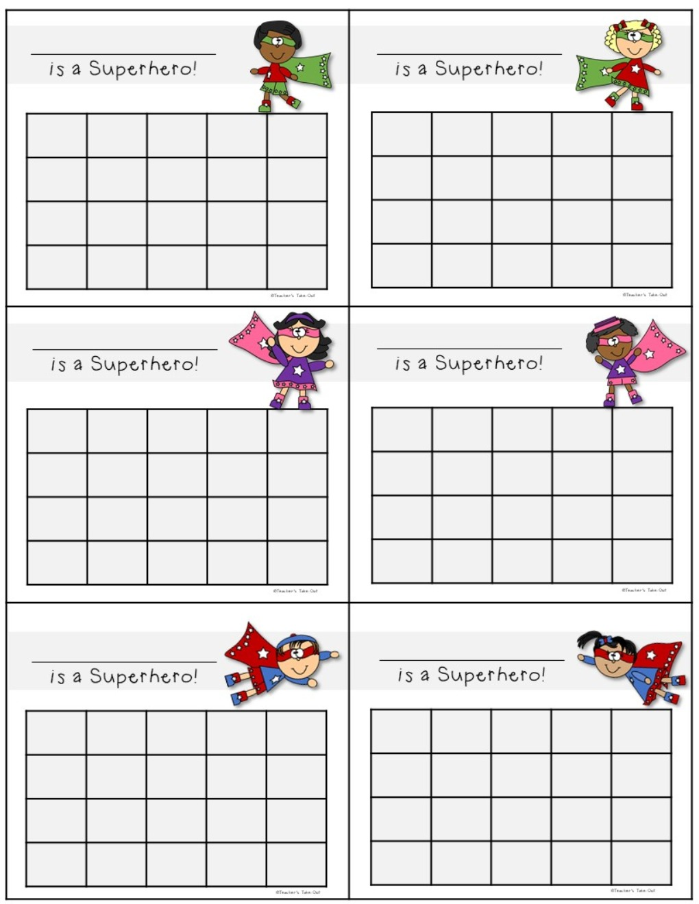 Superhero Punch Cards Dollar Deal