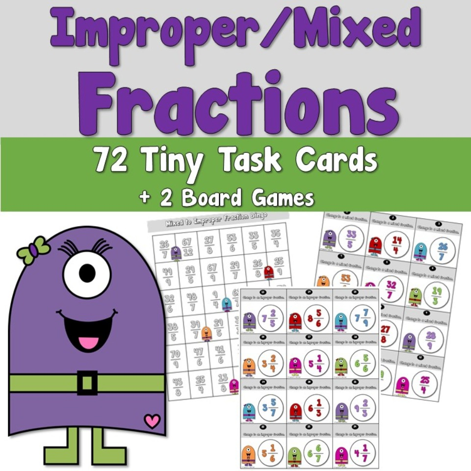 Improper and Mixed Fractions Task Cards
