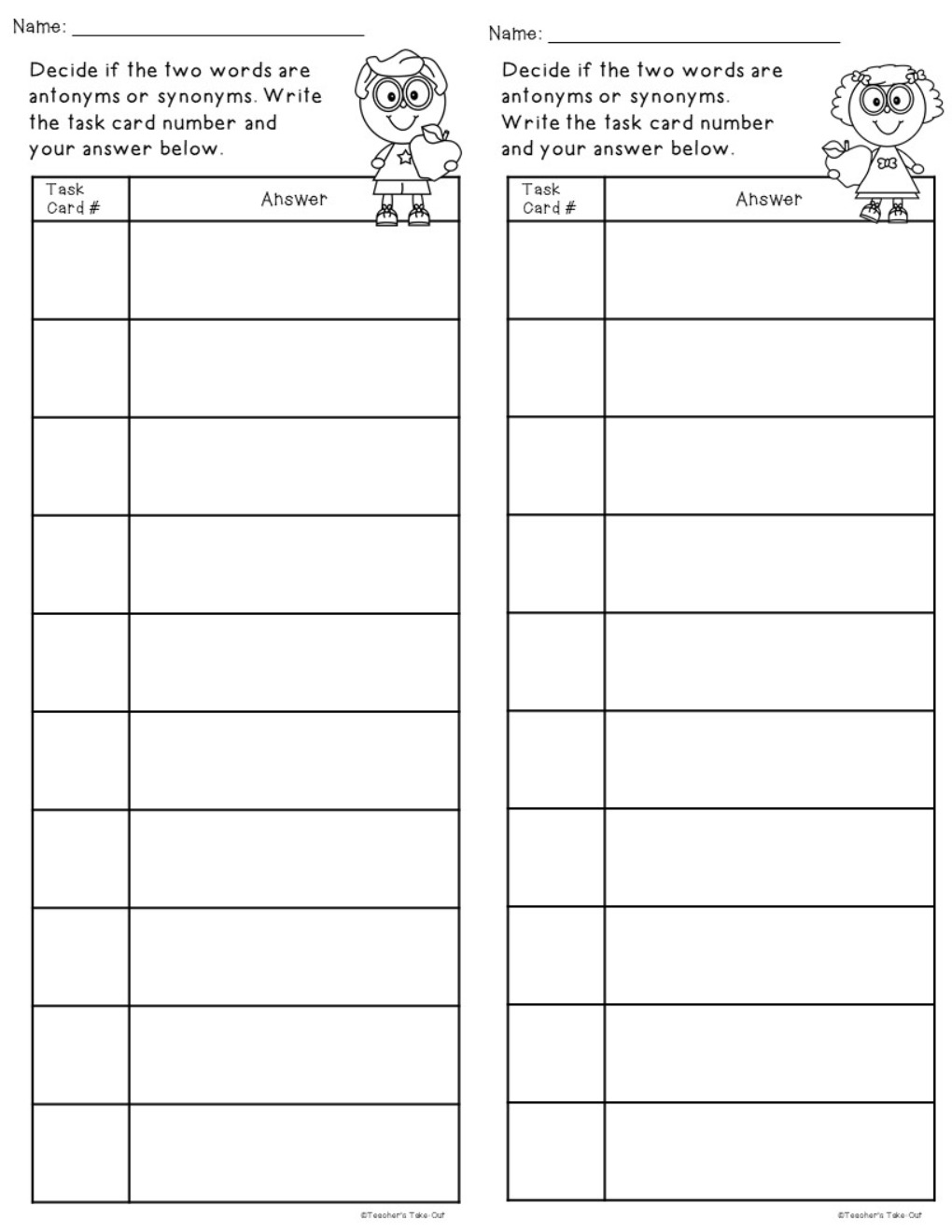 Apple Antonyms or Synonyms Task Cards