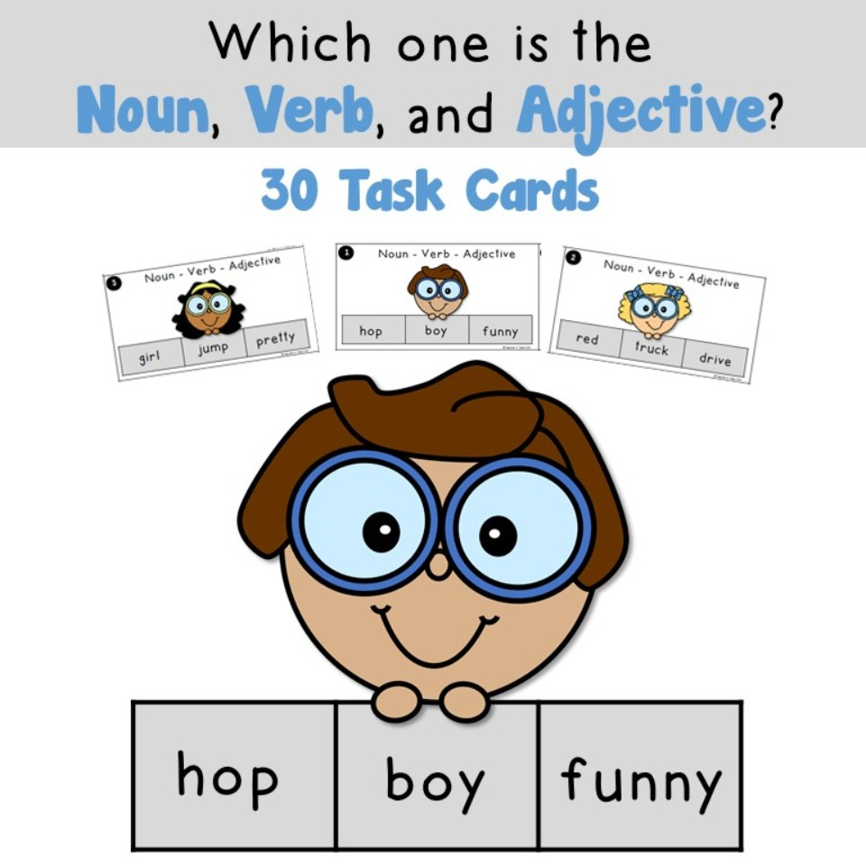 Nouns Verbs Adjectives Task Cards