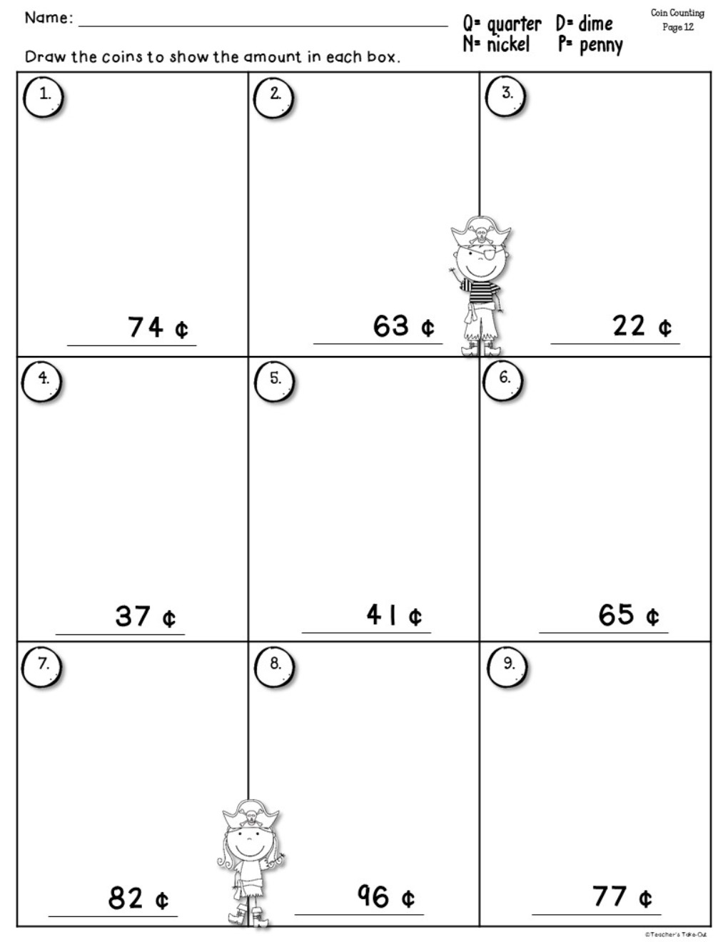 Coin Counting Worksheets