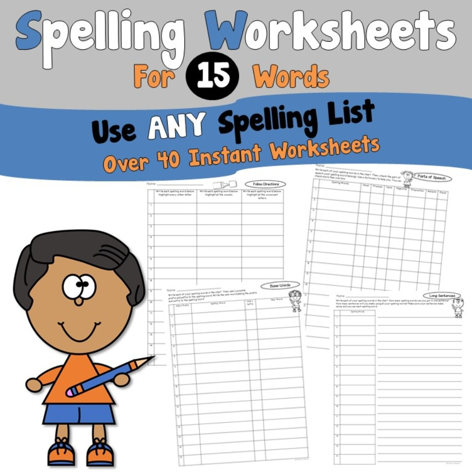 Spelling Worksheets for 15 Words