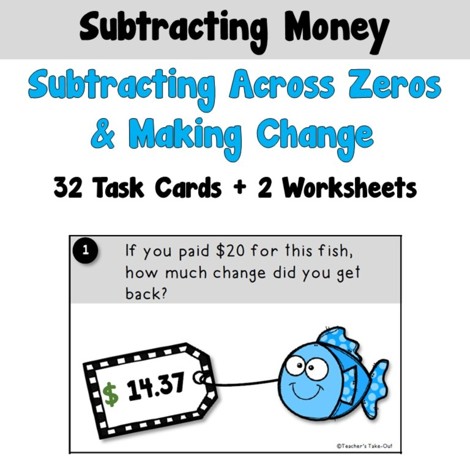 Subtracting Across Zeros Using Money Task Cards