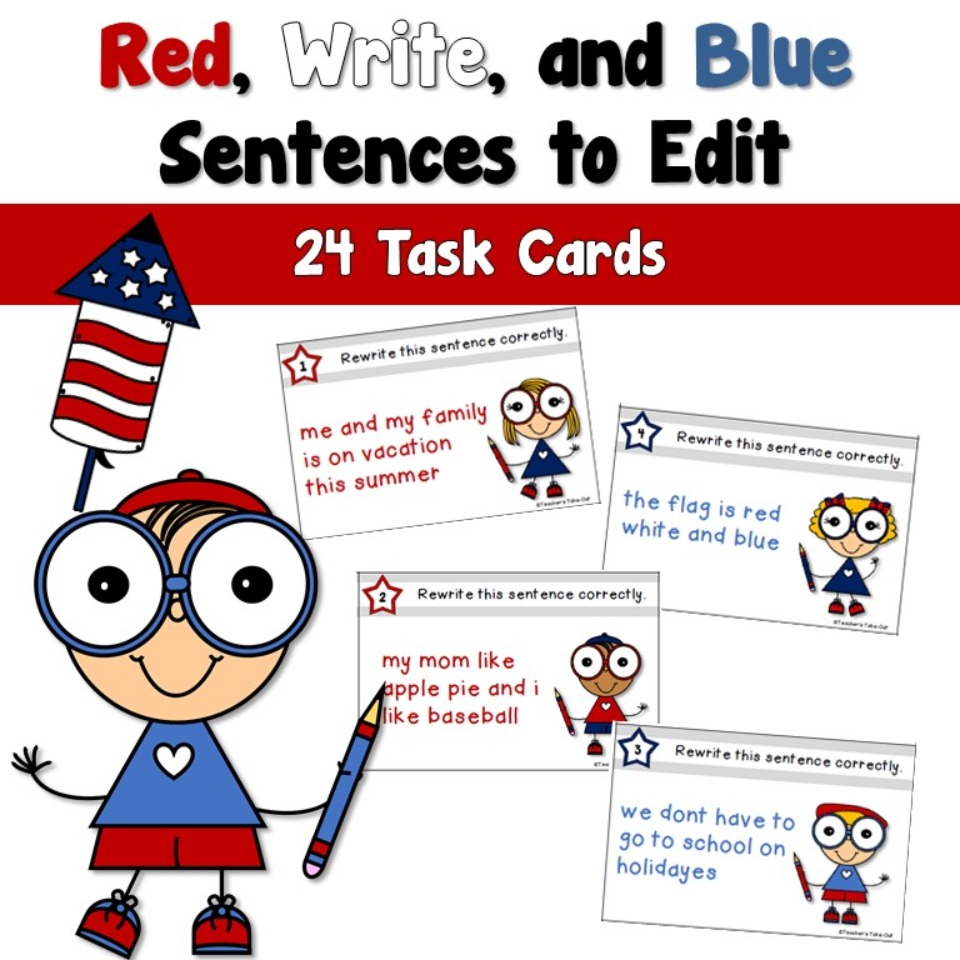 Red, WRITE, and Blue Sentences to Edit