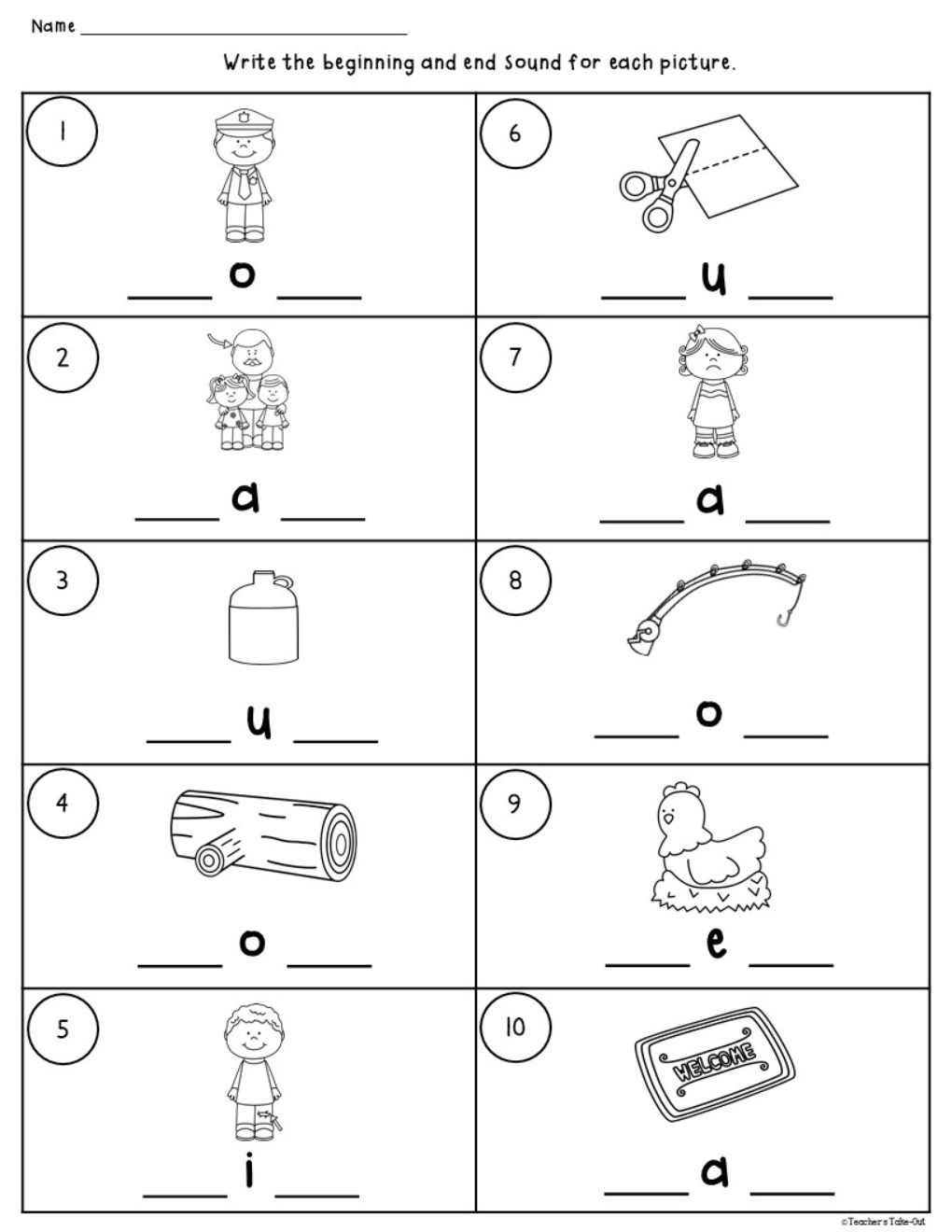 CVC Worksheets using Initial, Medial, and Final Sounds