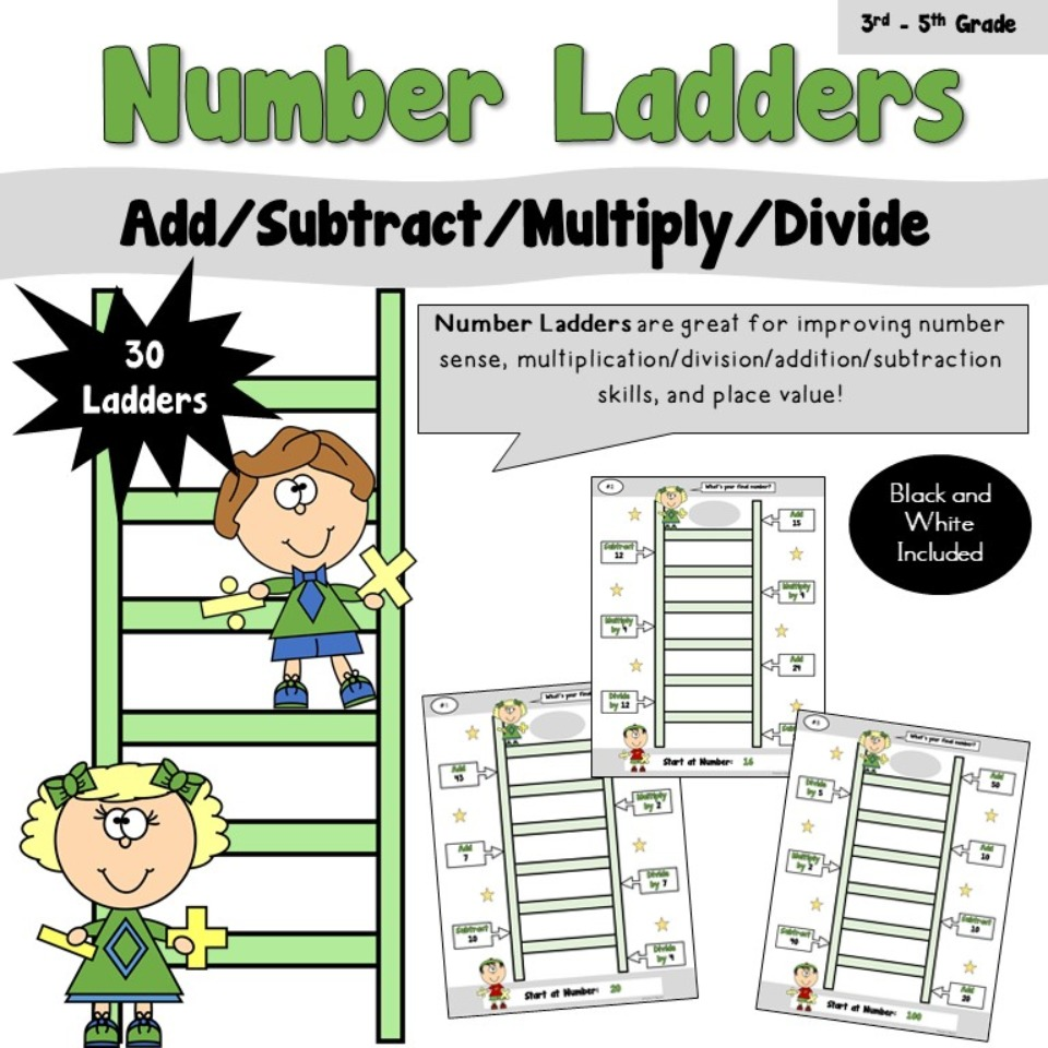 Number Ladders - Add/Subtract/Multiply/Divide
