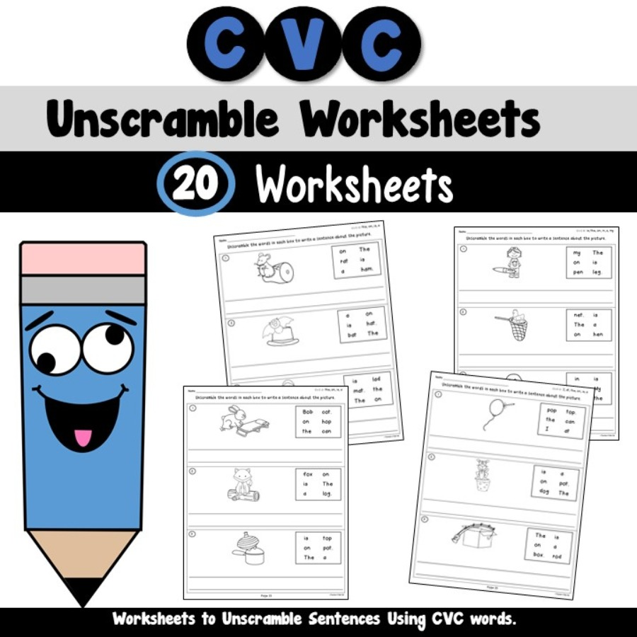CVC Unscramble Sentences Worksheets
