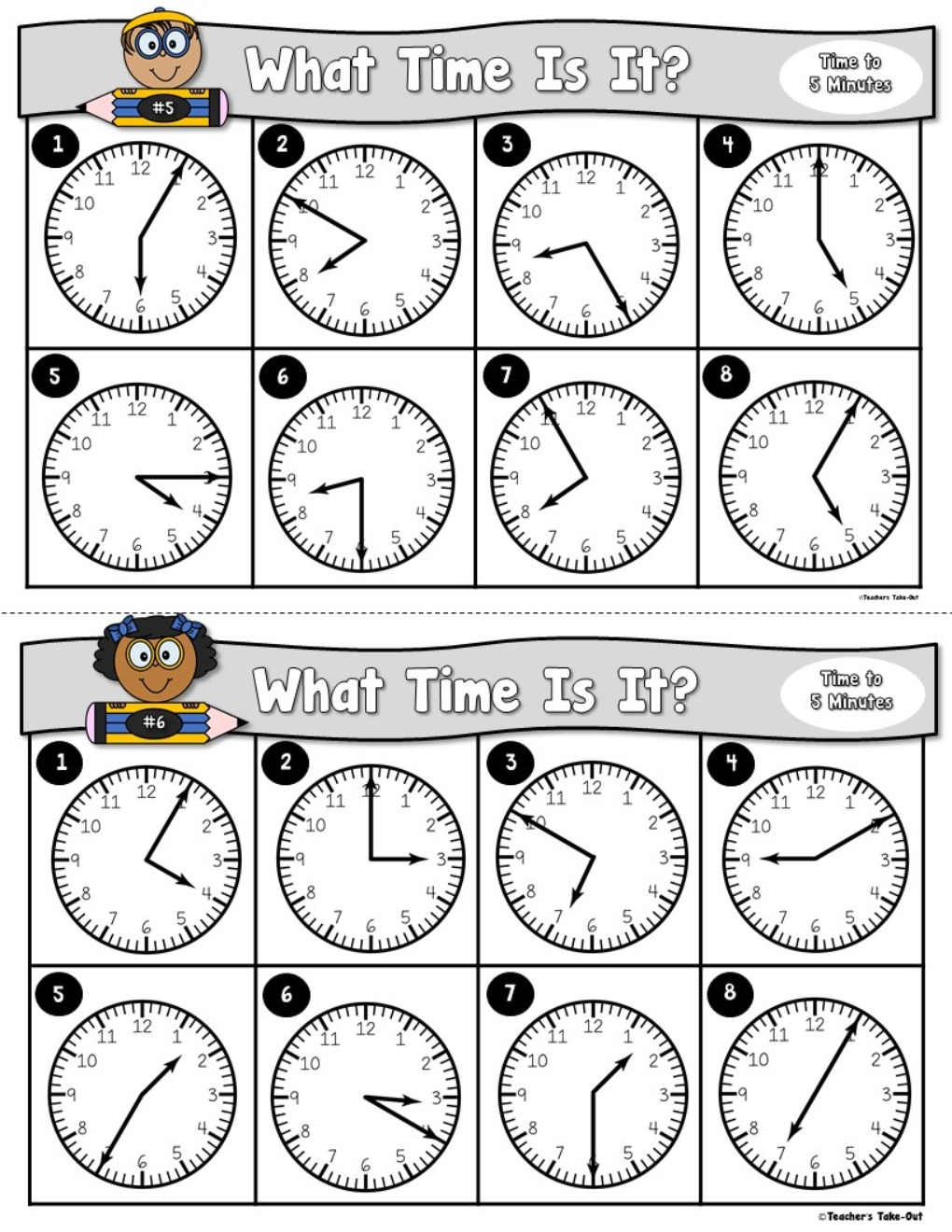 Time Task Cards to the Nearest 5 Minutes