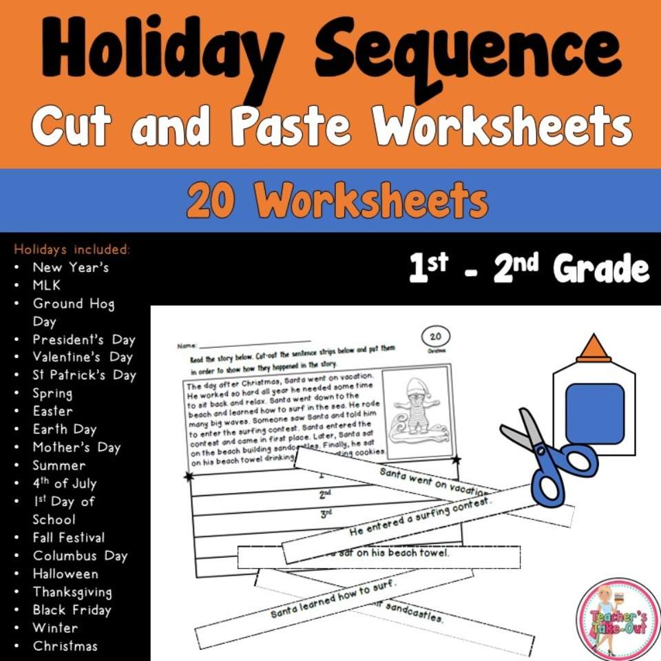 Holiday Sequence Cut and Paste Worksheets