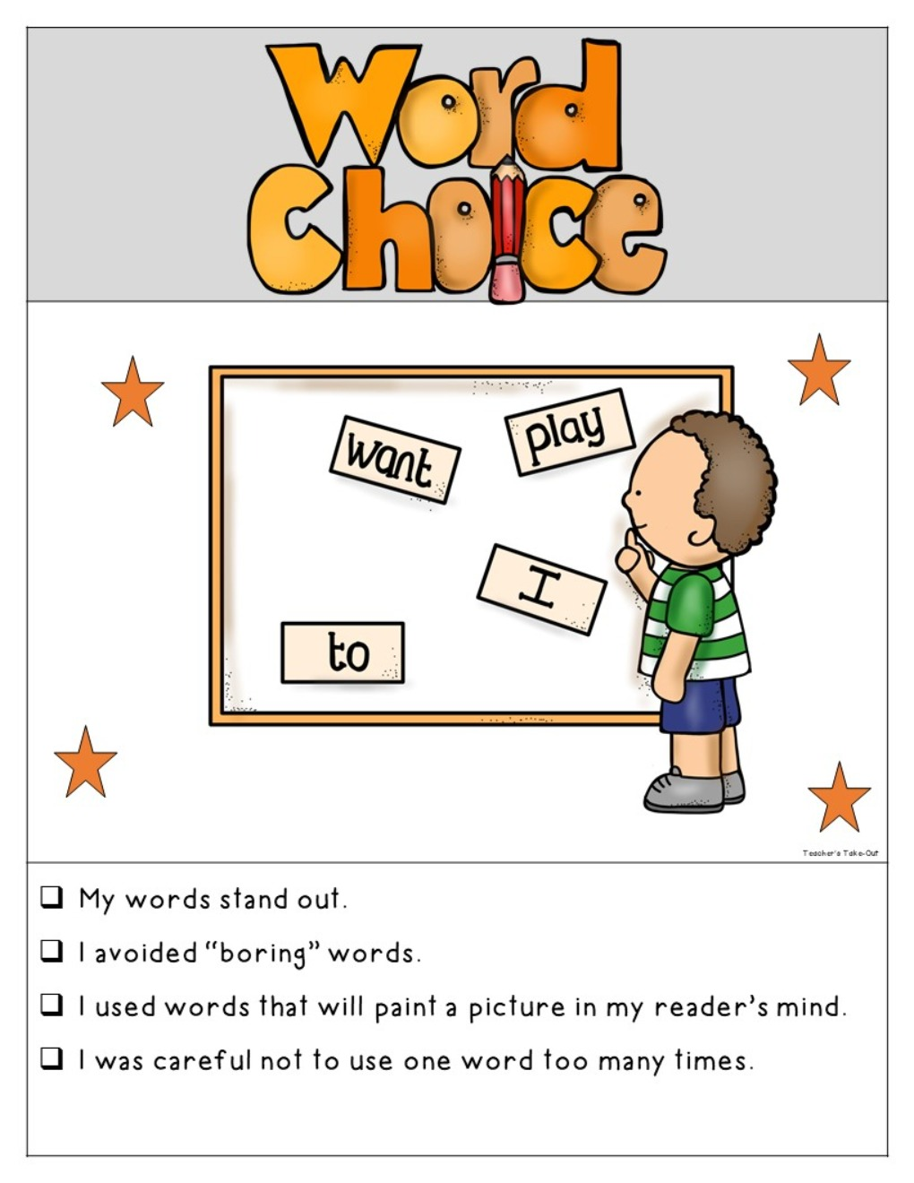 6-Traits Writing Posters and Checklist_Kid Theme