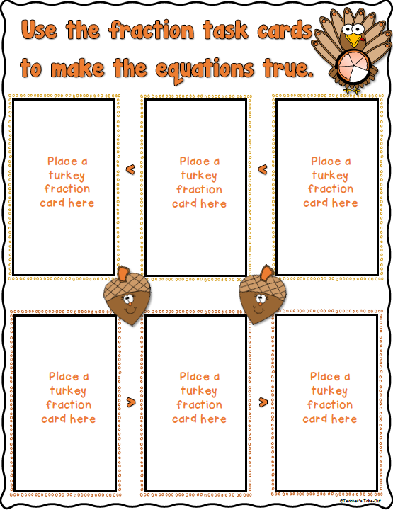 Turkey Pie Fractions Task Cards and Worksheets