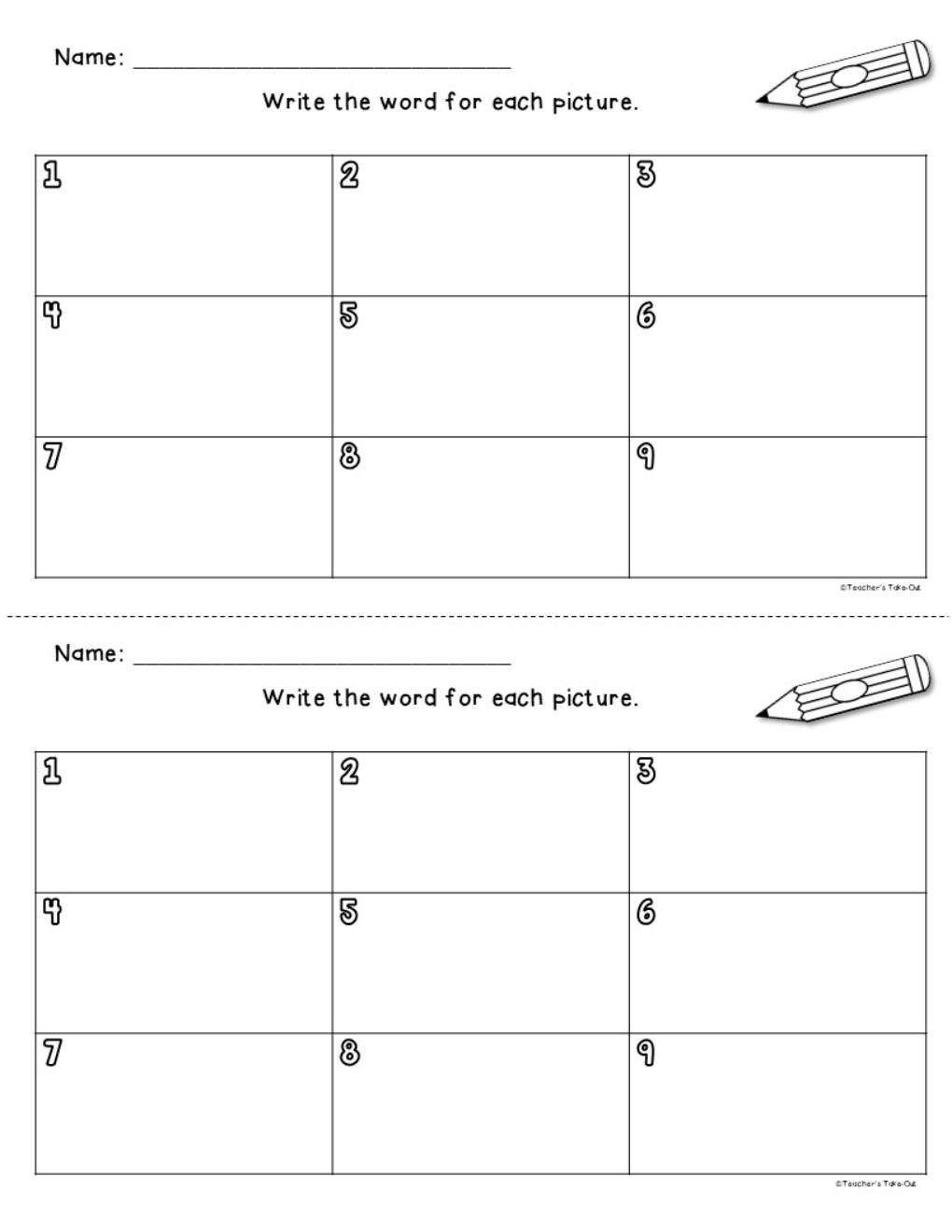 Short Vowels Picture Cards for a Writing Center