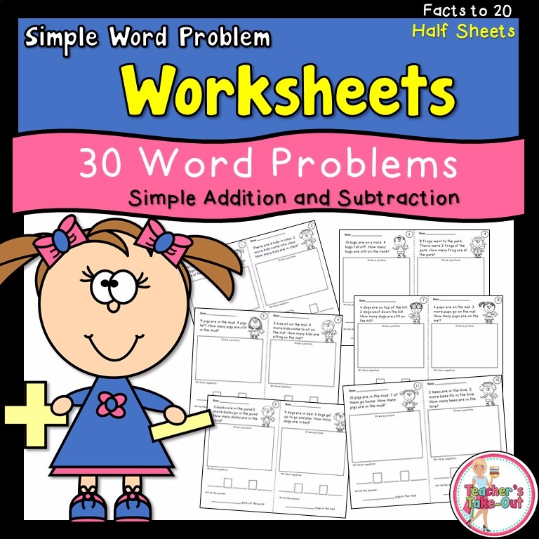 Simple Word Problem Worksheets Using Addition and Subtraction Facts Up to 20