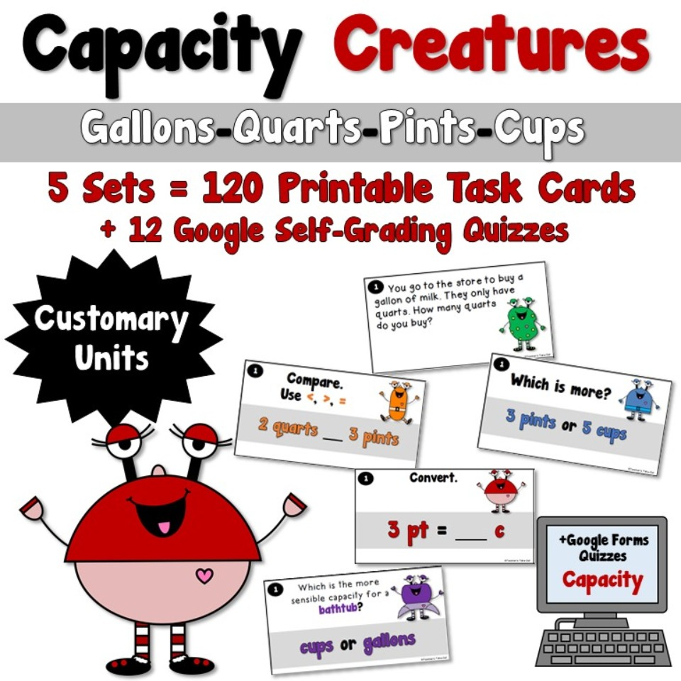Capacity Creatures Task Cards-Using Customary Units