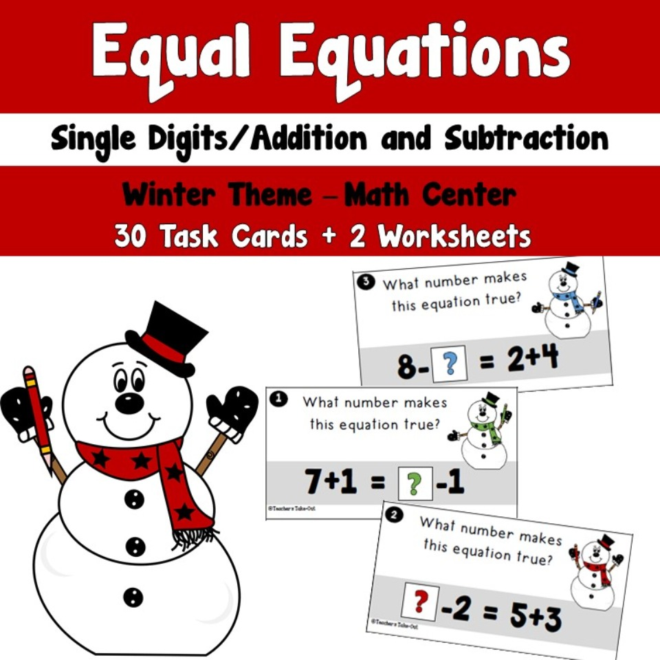 Winter Equal Equations using Single Digit Addition and Subtraction