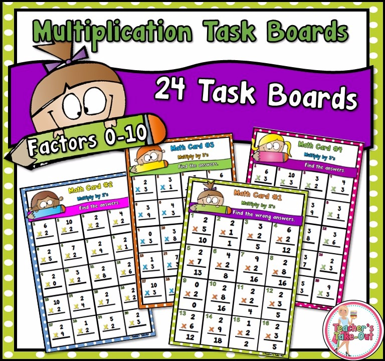 Multiplication Task Boards for Factors 0-10