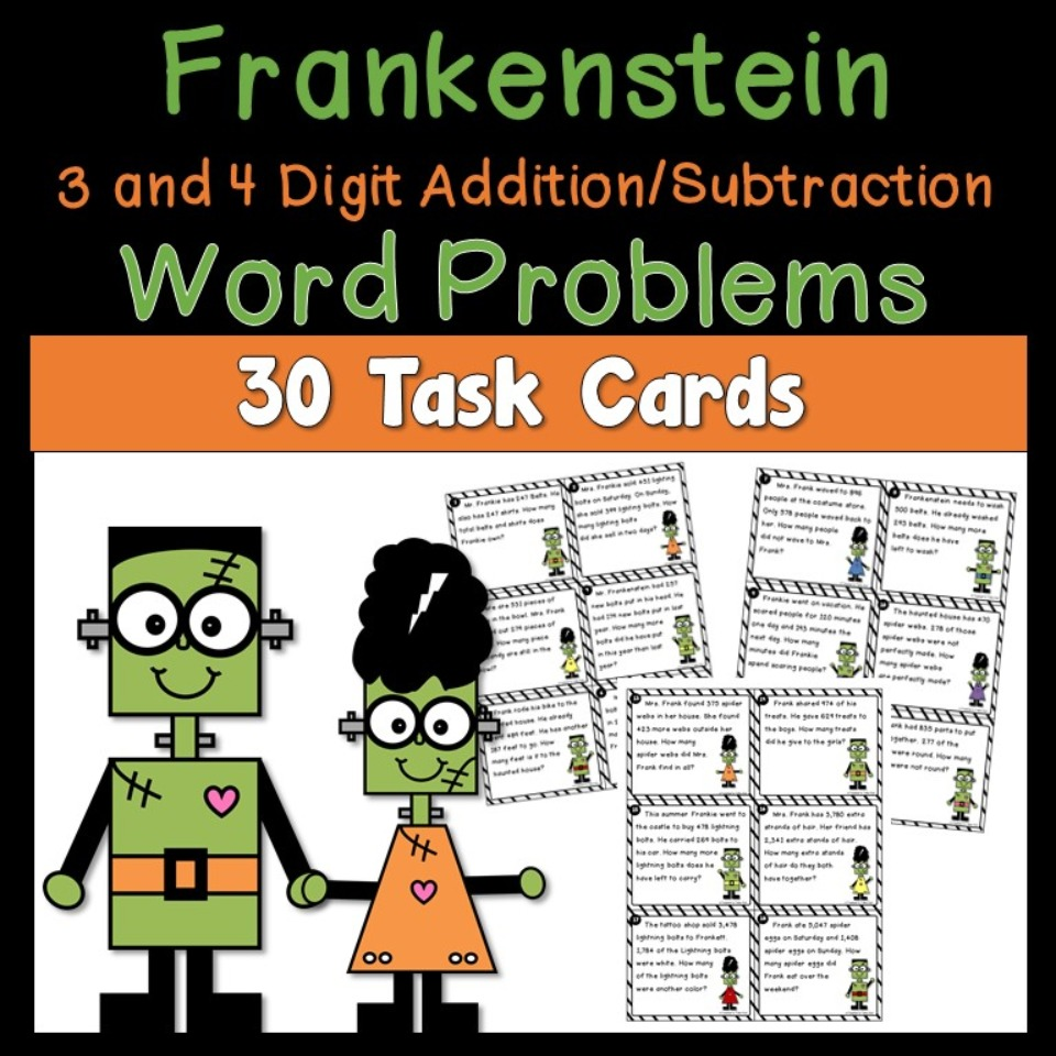 Frankenstein Word Problem Task Cards 3 and 4 Digit Addition and Subtraction