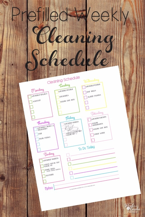 Pre-Filled Printable Cleaning Schedule