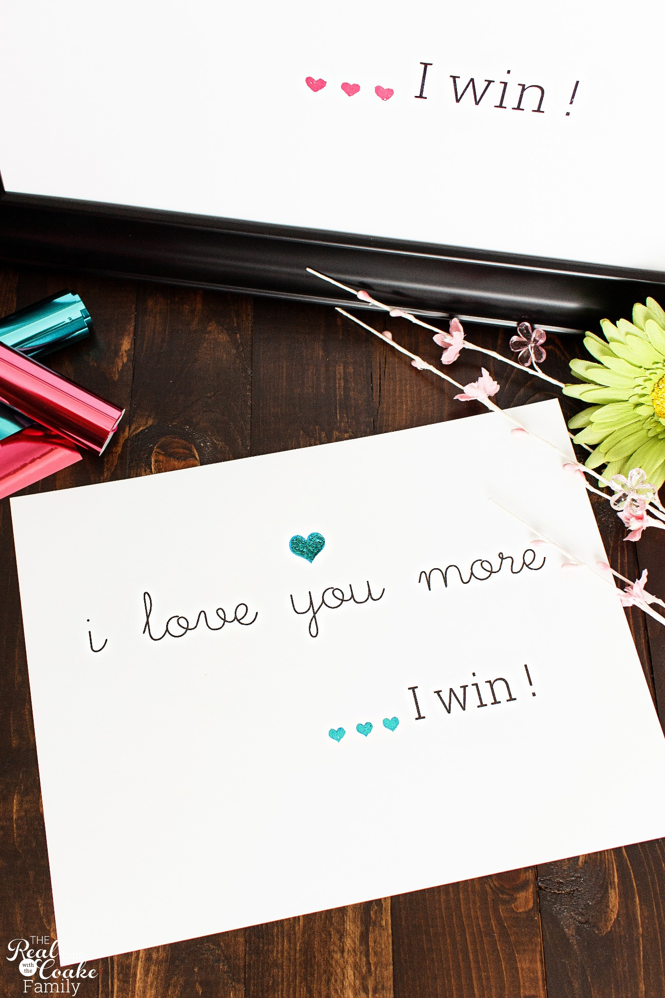 I Love You More, I Win Wall Art Print - Blue