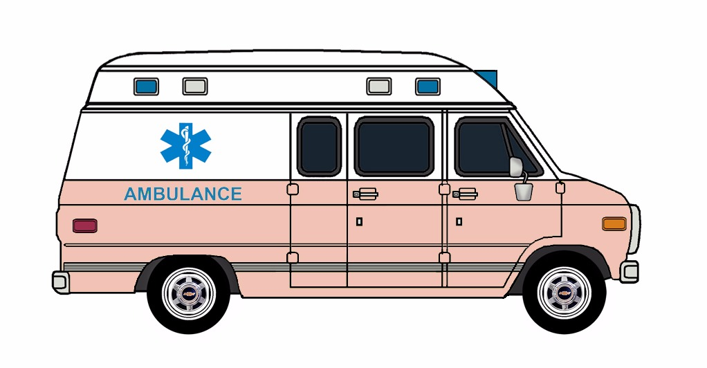 1985-96 Chevy G30 Ambulance WHITE & ROSE PINK