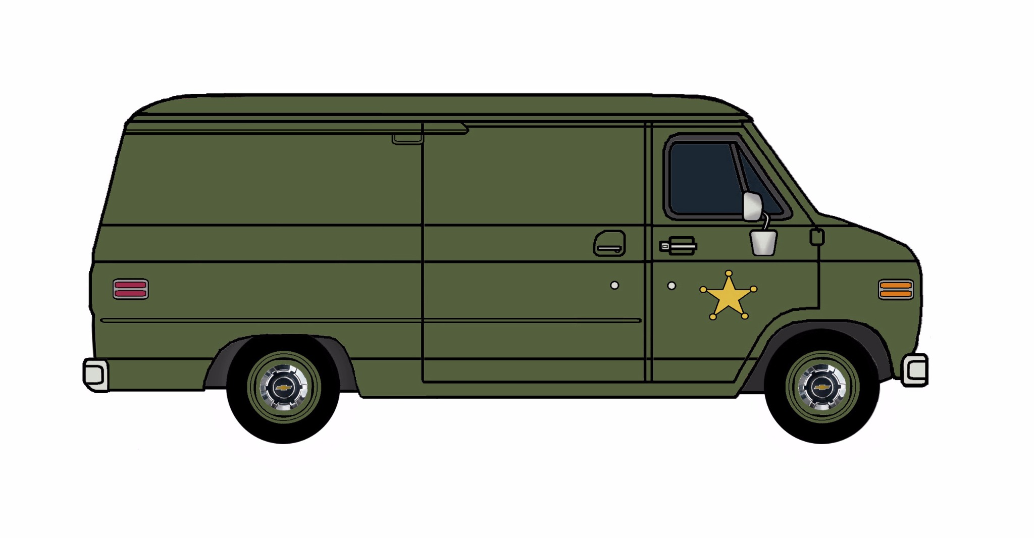 1977 Chevy G20 Police Van ARMY GREEN