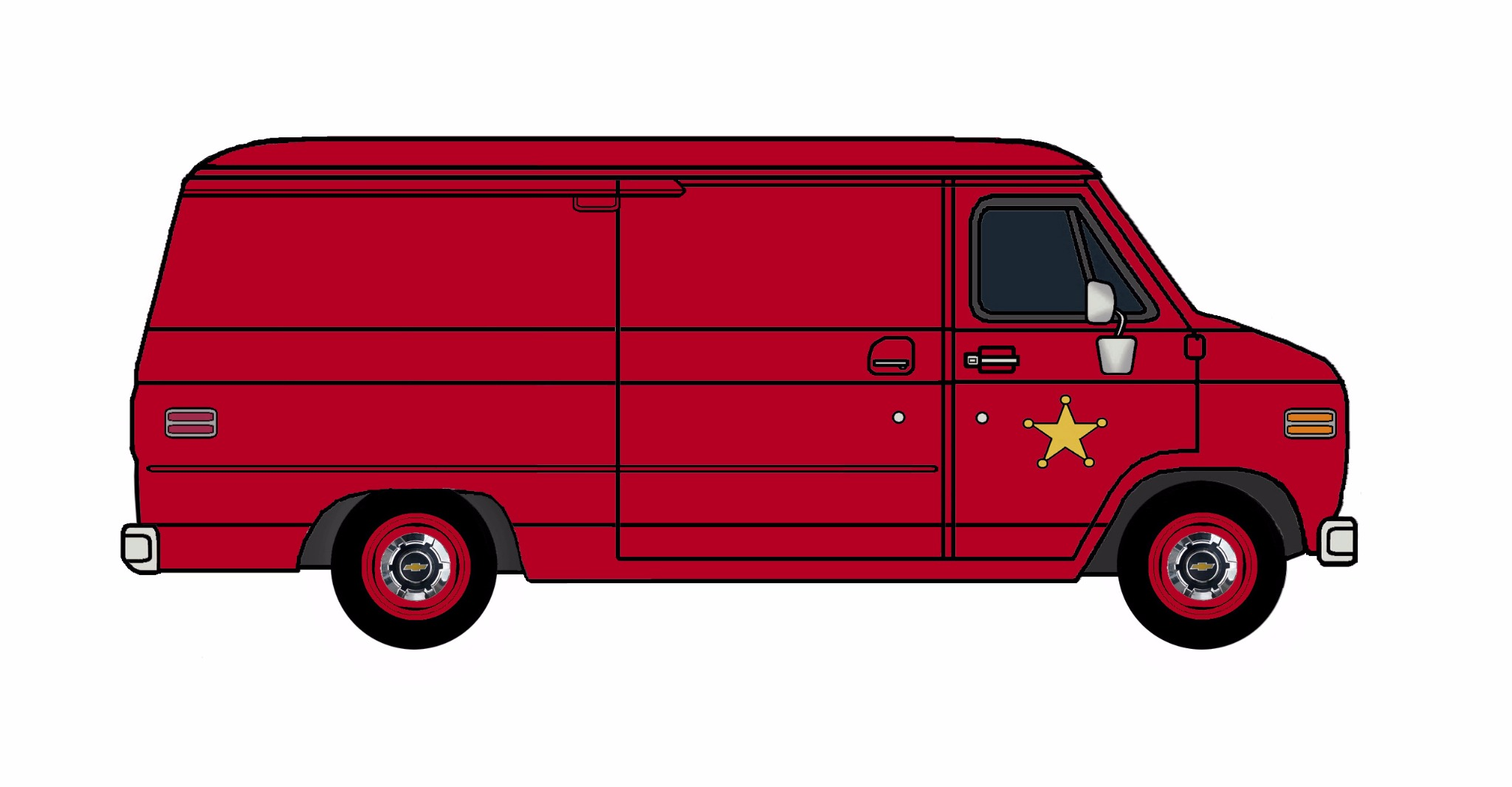 1977 Chevy G20 Police Van FIRE RED
