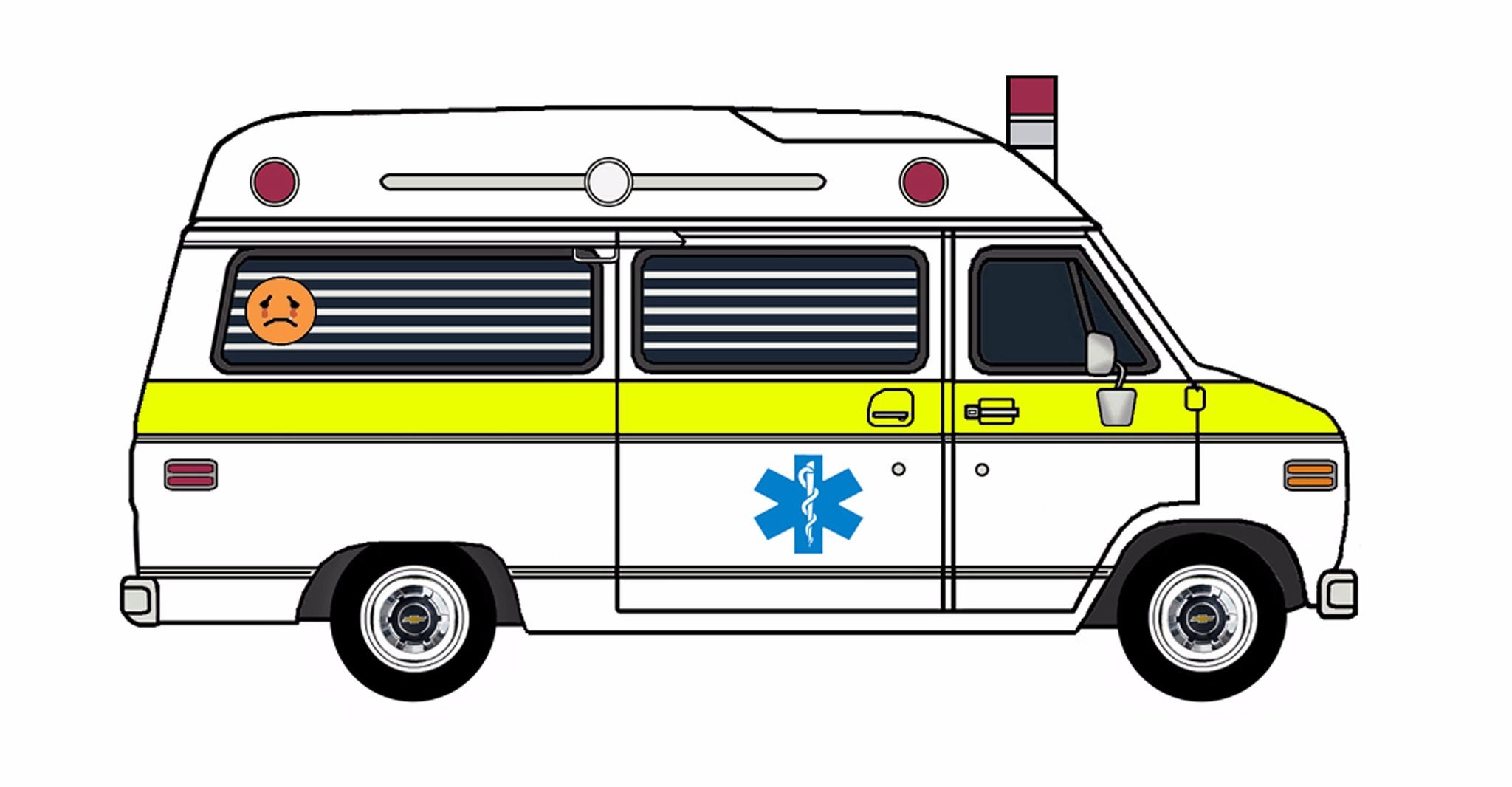 1977 Chevy G20 Ambulance WHITE & HAZARDOUS LIME