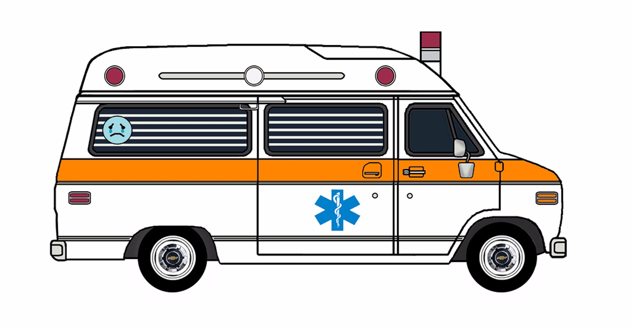 1977 Chevy G20 Ambulance WHITE & ORANGE