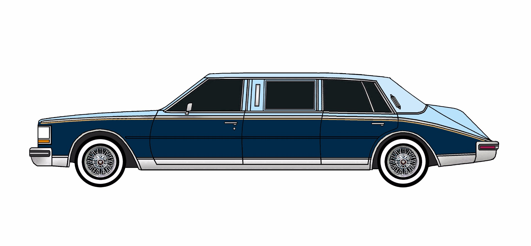 1985 Cadillac Seville Limo PALE BLUE & MIDNIGHT BLUE