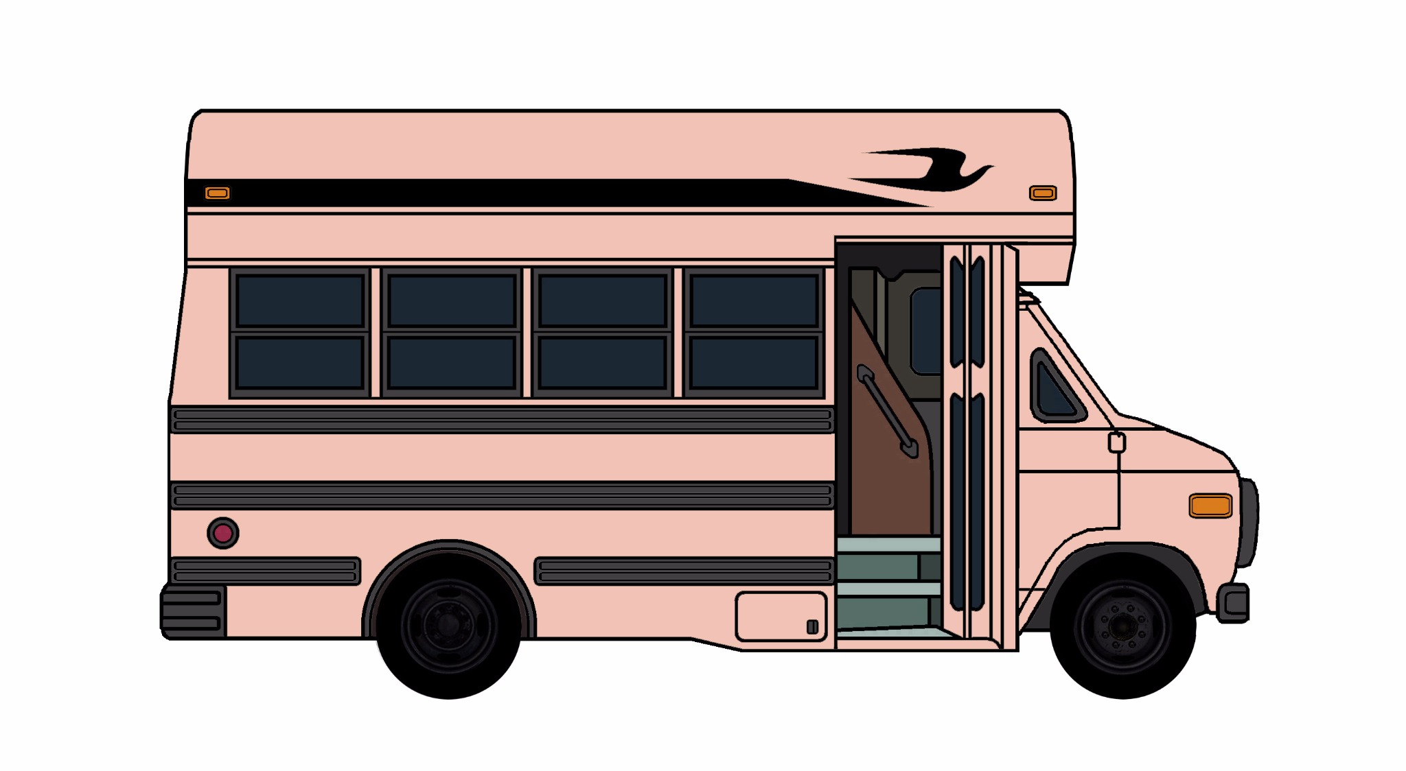 1985-96 Chevy G30 School Bus ROSE PINK