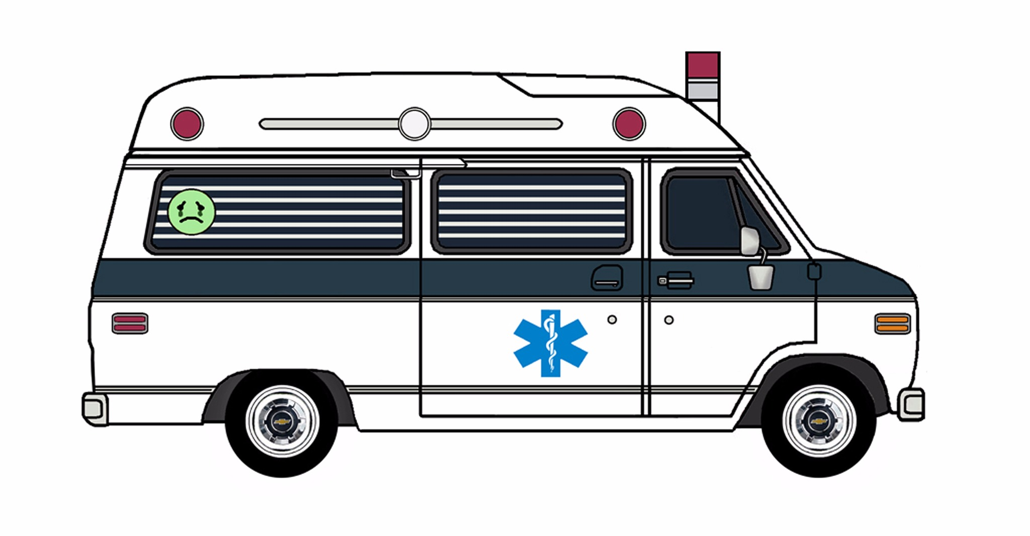 1977 Chevy G20 Ambulance WHITE & NAVY BLUE