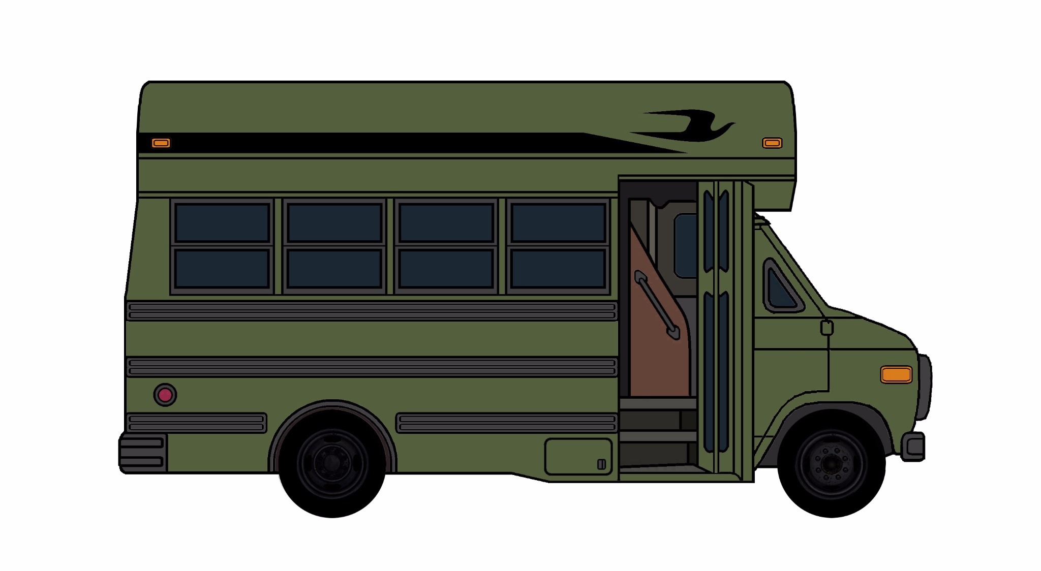 1985-96 Chevy G30 School Bus ARMY GREEN