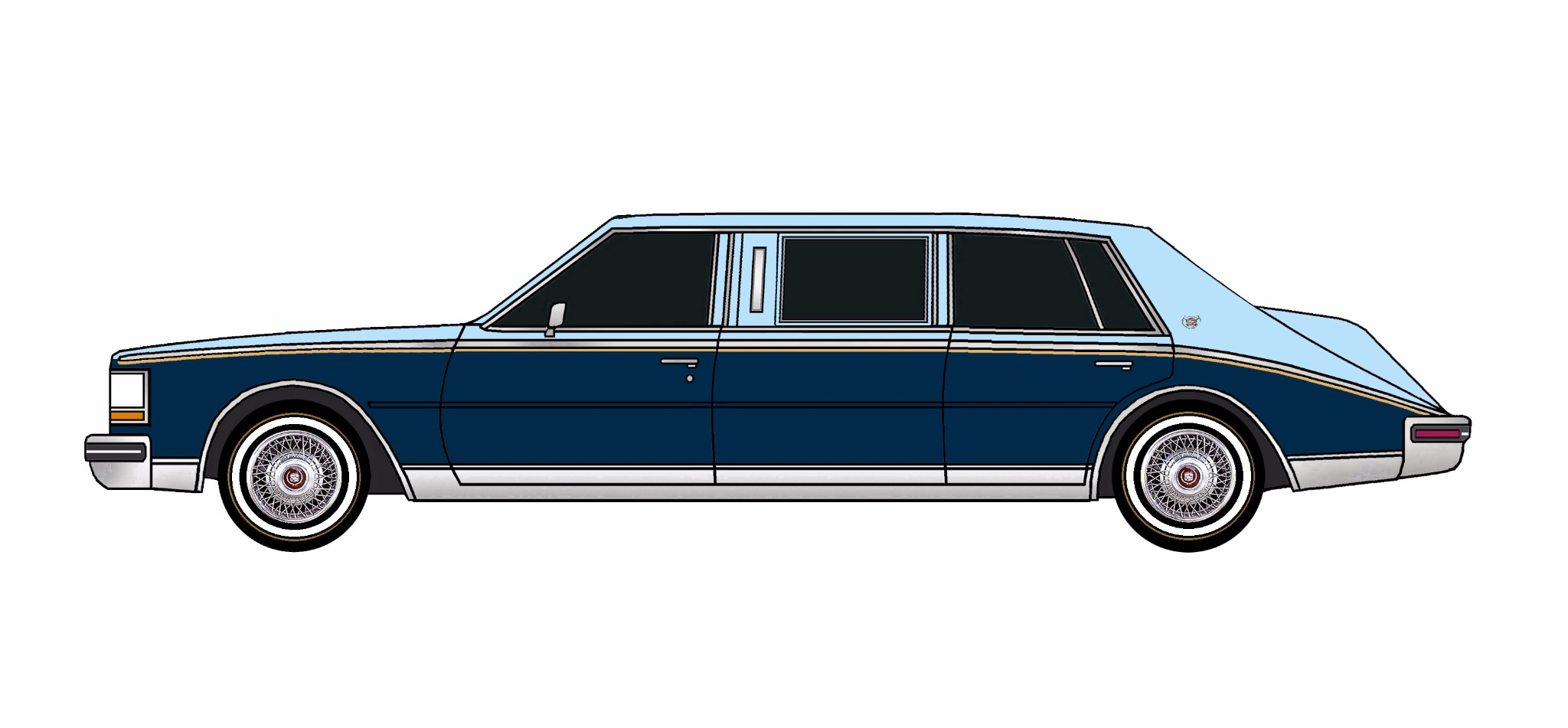 1980 Cadillac Seville Limo PALE BLUE & MIDNIGHT BLUE