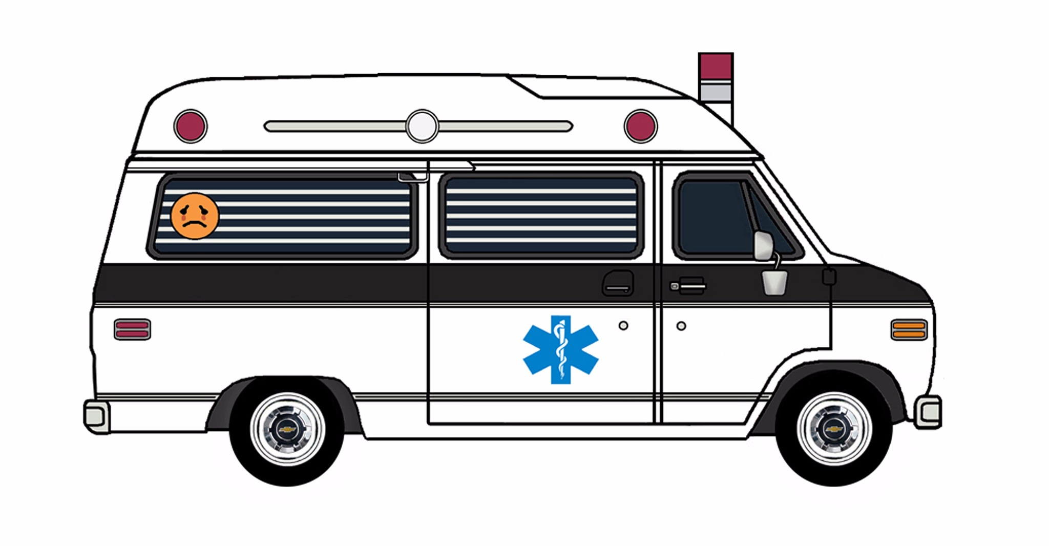 1977 Chevy G20 Ambulance WHITE & BLACK