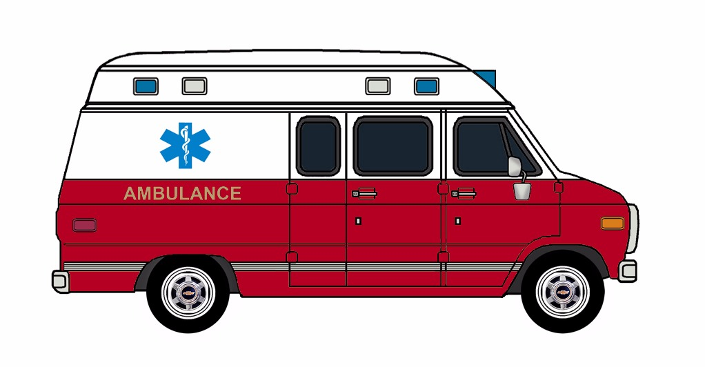1985-96 Chevy G30 Ambulance WHITE & FIRE RED
