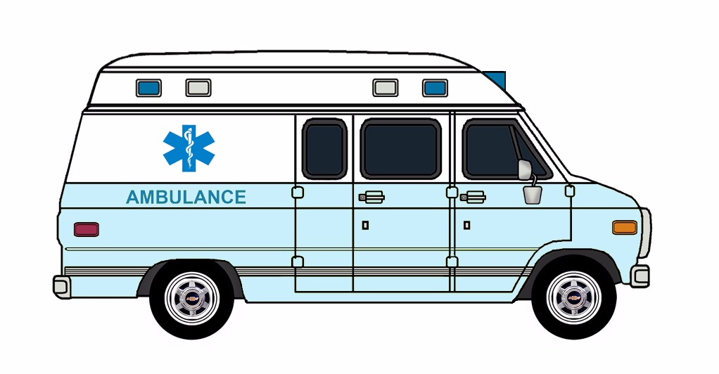 1985-96 Chevy G30 Ambulance WHITE & PALE BLUE