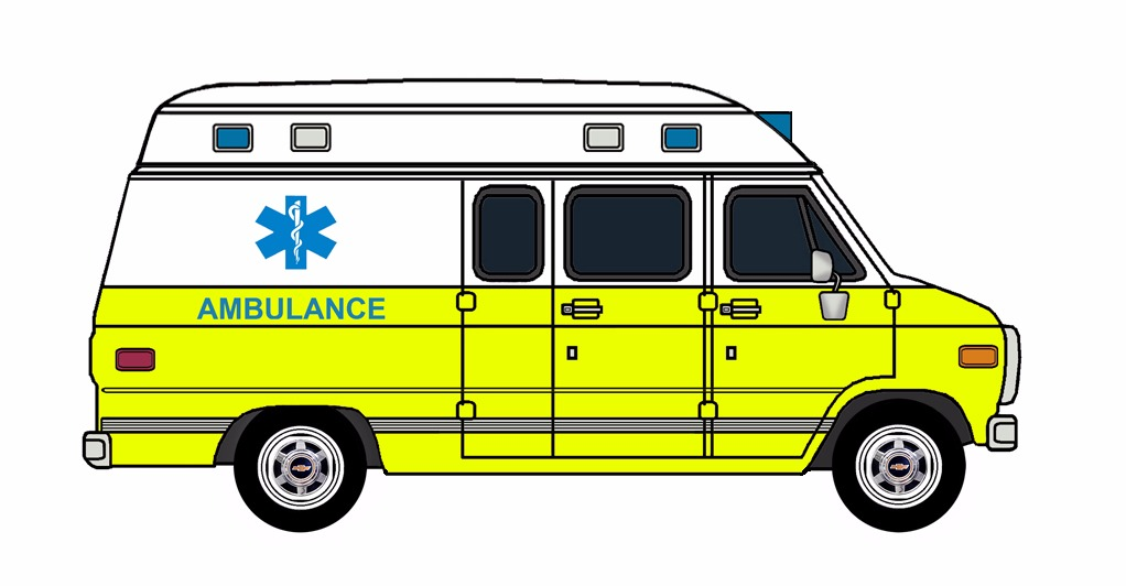 1985-96 Chevy G30 Ambulance WHITE & HAZARDOUS LIME