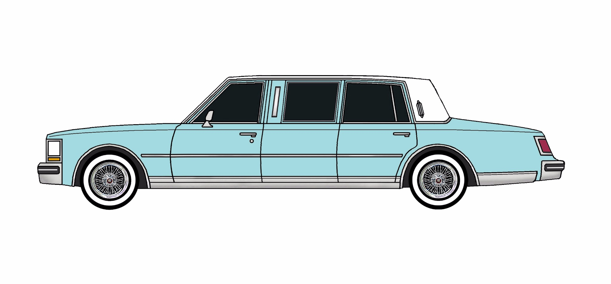 1978 Cadillac Seville Limo SKY BLUE