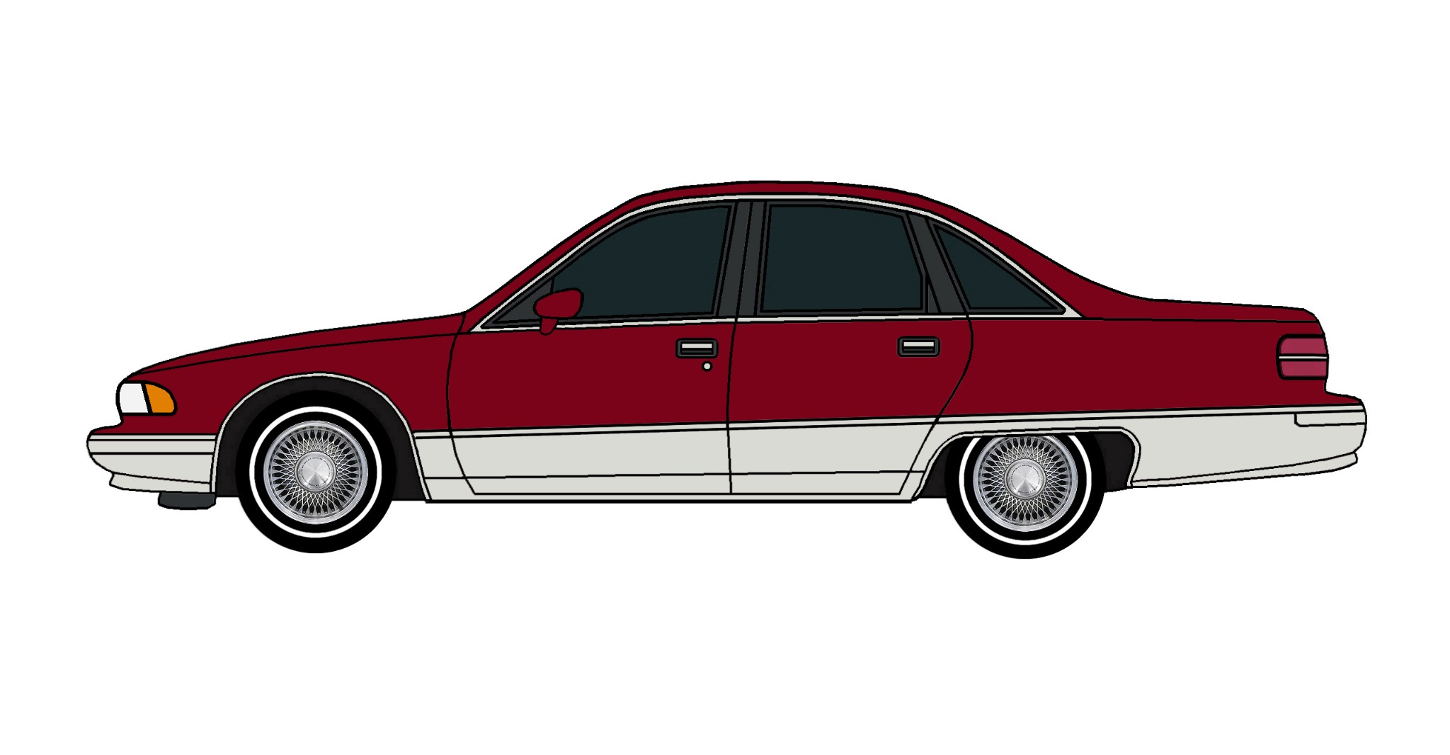 1991 Chevy Caprice DEEP BURGUNDY & GREY