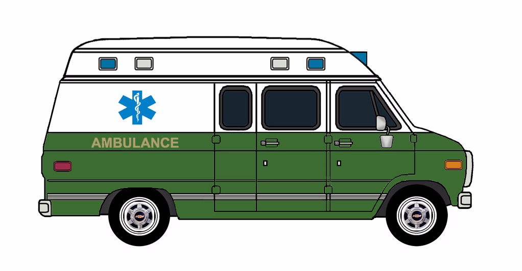 1985-96 Chevy G30 Ambulance WHITE & EVERGREEN