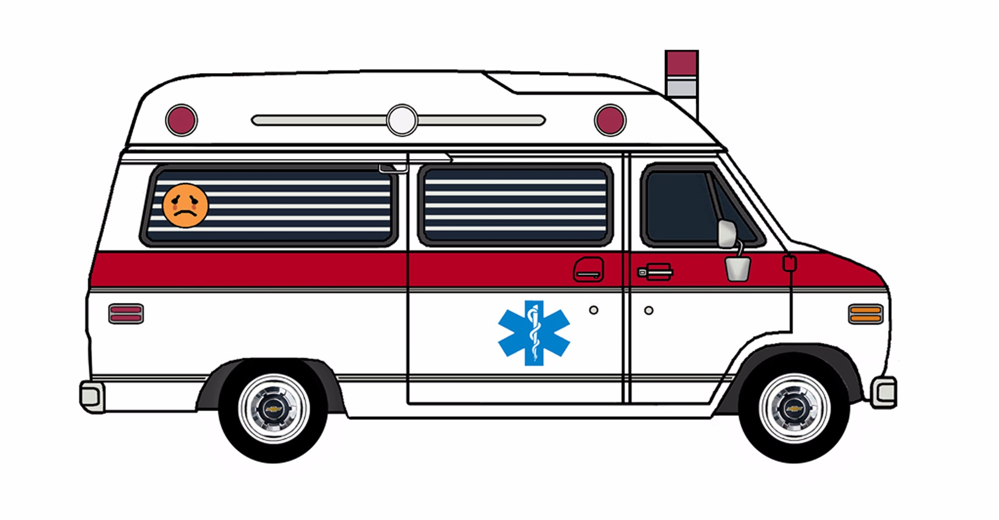 1977 Chevy G20 Ambulance WHITE & FIRE RED