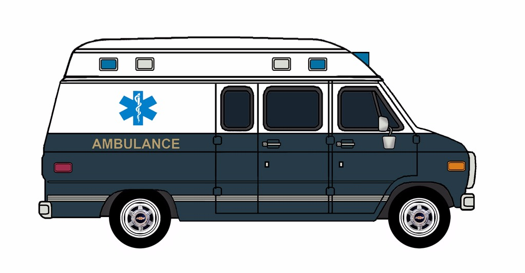 1985-96 Chevy G30 Ambulance WHITE & NAVY BLUE