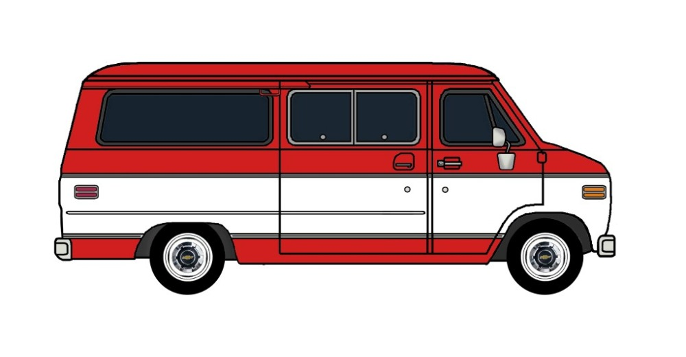 1977 Chevy G20 Beauville BRIGHT RED & WHITE