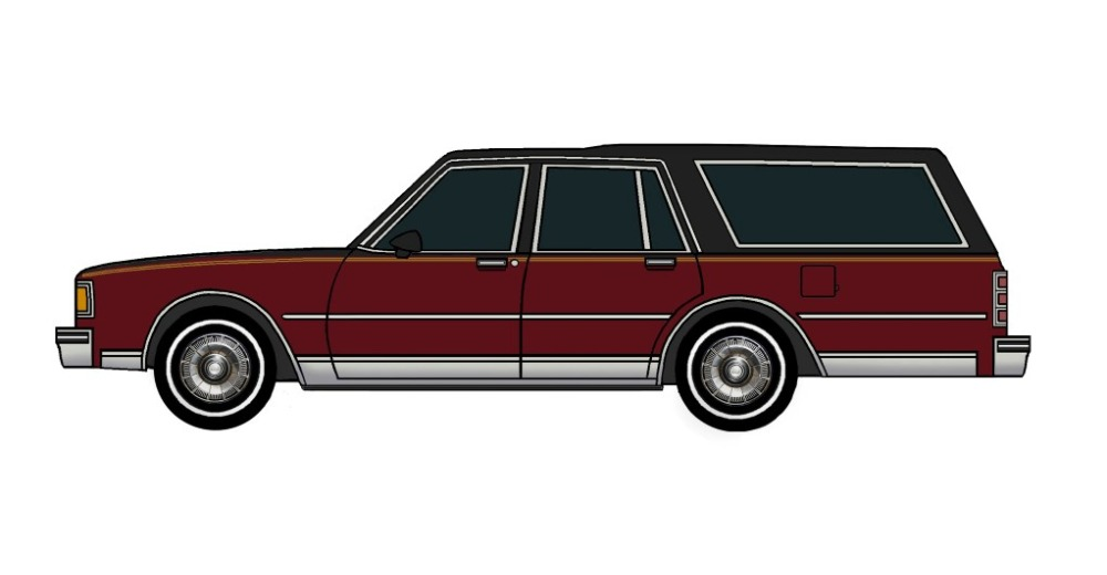1985 Chevy Caprice Wagon BLACK & TUSCAN RED