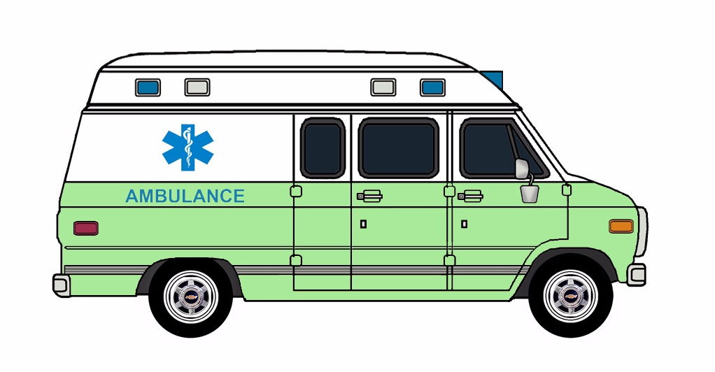 1985-96 Chevy G30 Ambulance WHITE & SPRING GREEN